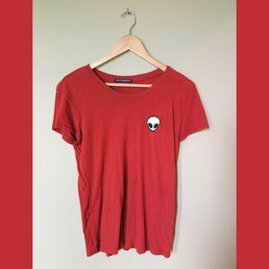 Brandy Melville 👽 alien emoji Tshirt Burnt Orange